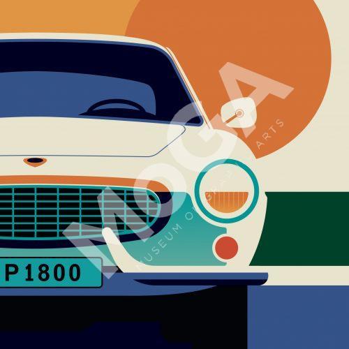 Volvo P1800 av Bo Lundberg. Specialdesignad poster för utställningen på Volvo Studio.