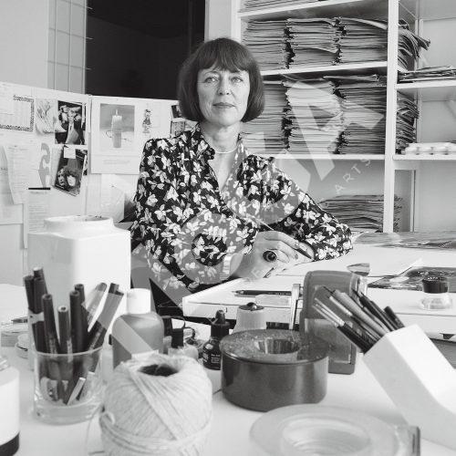 Jane Bark på kontoret på Bragevägen i mitten av 80-talet.