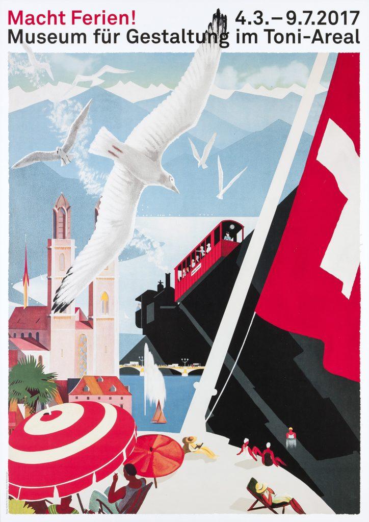 Affisch för utställningen »Macht Ferien!«  Buffet für Gestaltung. 2017 Inspirerad av bland andra Otto  Baumberger.