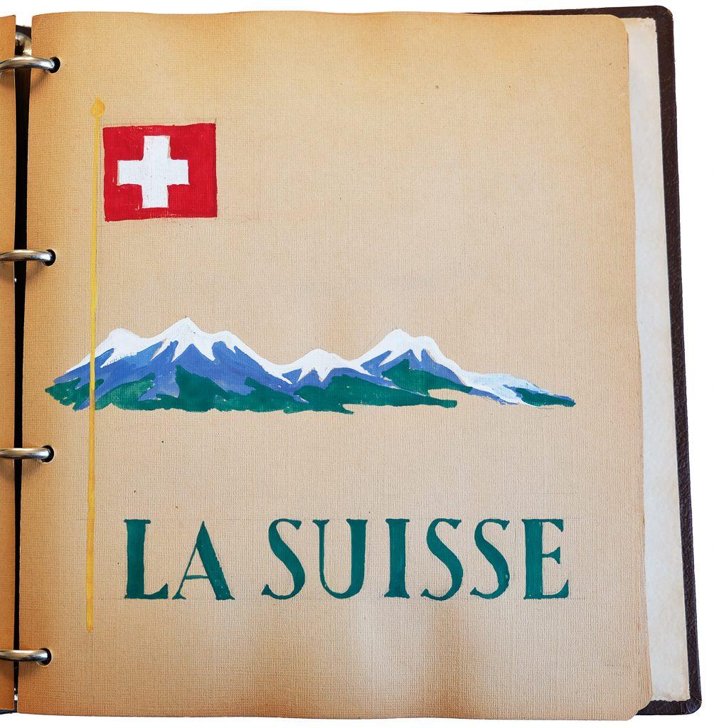 Janes fina klippbok med illustrationer från året på flickpensionen i Schweiz, 1947