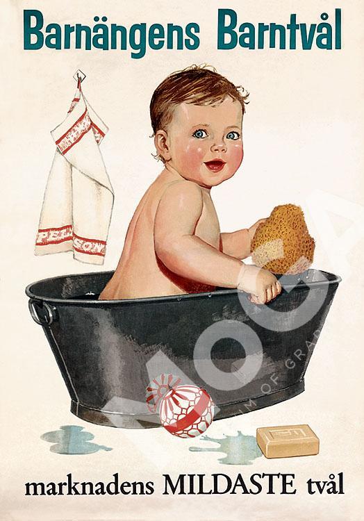 Affischen för barntvål gjorde jag efter Konstfack, på Eco annonsbyrå, i ett helt annat manér. Bilderna är målade med gouachefärg.