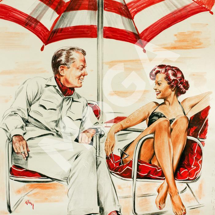 De möttes vid poolkanten. Han erbjöd henne kanske en filmroll …