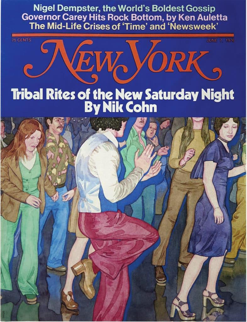 James McMullan illustrerade 'the Brooklyn disco scene'. Nik Cohn skrev ett fantastiskt reportage som visade sig vara delvis fabricerat. Resultatet inspirerade Hollywood producenten Robert Stigwood som köpte rätten till storyn. Filmen Saturday Night Fever var ett faktum.