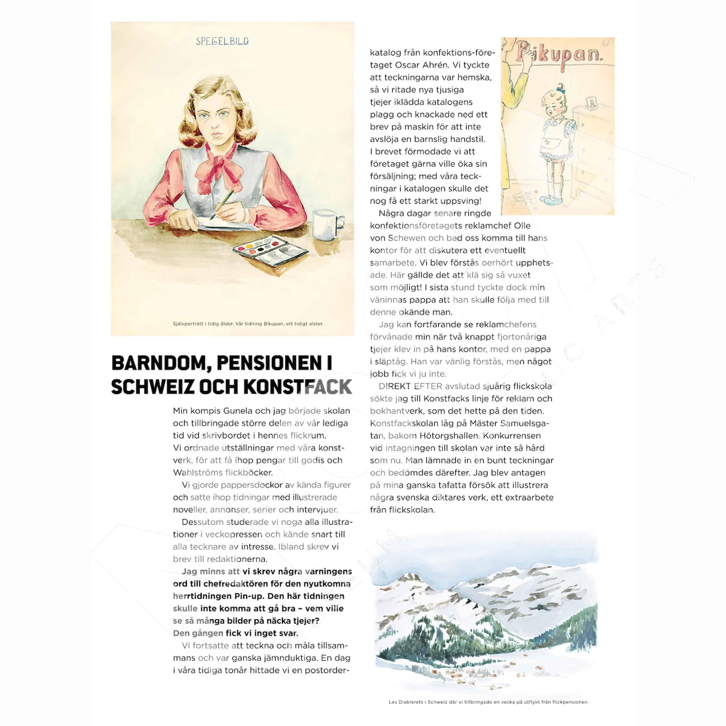 Barndomen, pensionen i Schweiz och Konstfack