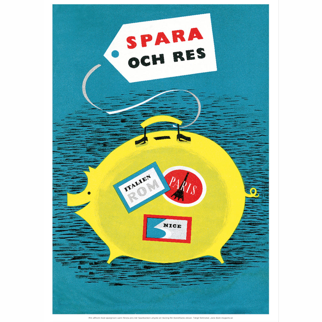 Med den här affischen vann jag en tävling på Konstfack, utlyst av Sparbanken