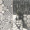 Jag, Gunnel, framför en vägg med mina mönster, 1970